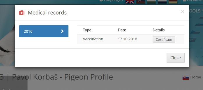 Alle Impfungen für diese Taube werden hier angezeigt